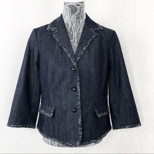 Talbots Blue Chambray Cotton Grace Blazer Petite
